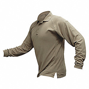Mens Tactical Polo, Tan, Long Sleeve, L