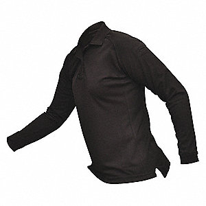 Womens Tactical Polo, Black, Lng Sleeve, XS
