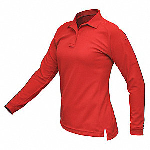 Womens Tactical Polo, Red, Long Sleeve, M