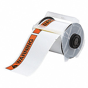 Indoor/Outdoor B-595 Vinyl Film with Permanent Adhesive Thermal Transfer Label, Black/Orange, 6-1/4""