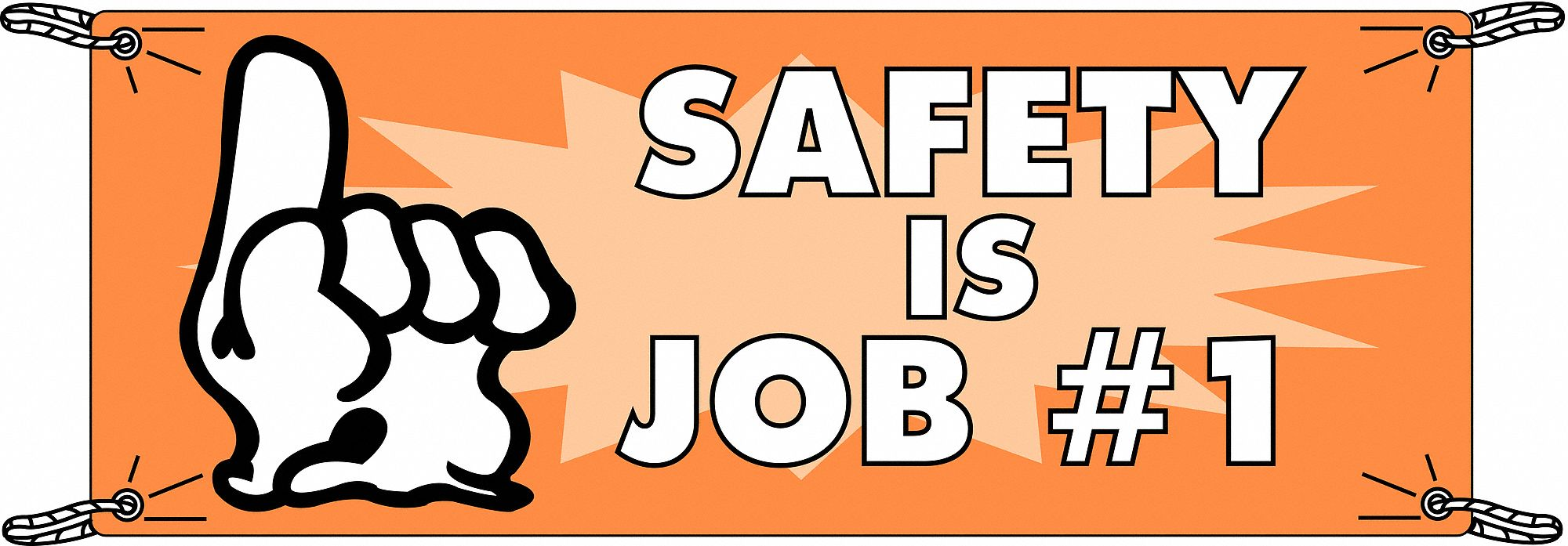 Safety Banner,  Safety Banner Legend Safety Is Job #1,  48 in x 120 in,  English