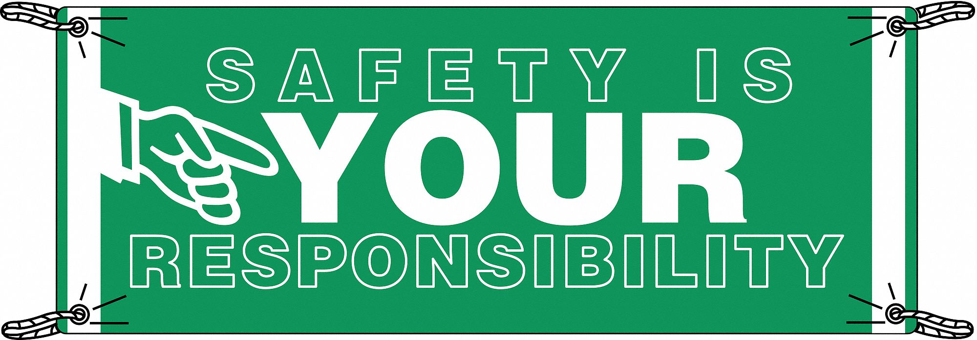 Safety Banner,  Safety Banner Legend Safety Is Your Responsibility,  48 in x 120 in,  English