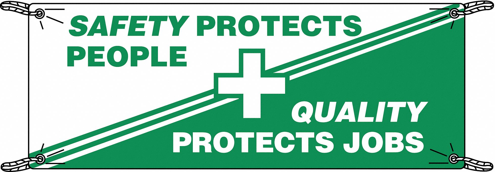 Safety Banner,  Safety Banner Legend Safety Protects People Quality Protects Jobs,  48 in x 120 in