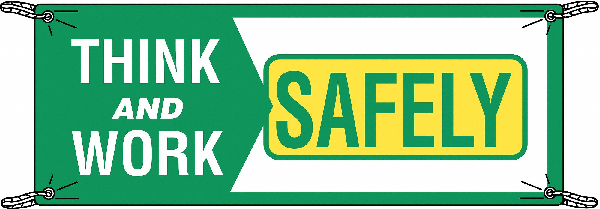Safety Banner,  Safety Banner Legend Think And Work Safely,  48 in x 120 in,  English