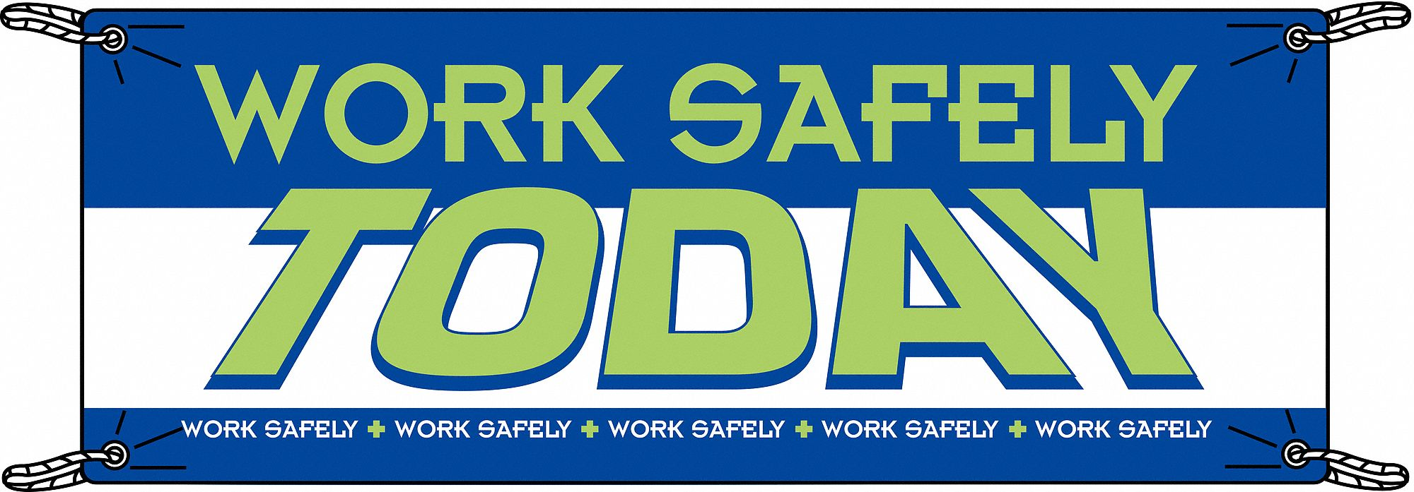 Safety Banner,  Safety Banner Legend Work Safely Today,  48 in x 120 in,  English