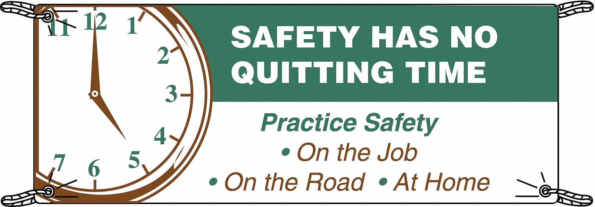 Safety Banner,  Safety Banner Legend Practice Safety On The Job On The Road At Home,  36 in x 60 in