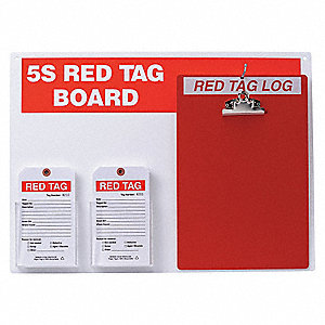 "Red/WhiteRed Tag Station, Filled, 16"" x 22"", Acrylic Board with Paper Tags"