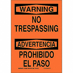 "Trespassing and Property, Warning/Advertencia, Fiberglass, 20"" x 14"", With Mounting Holes"