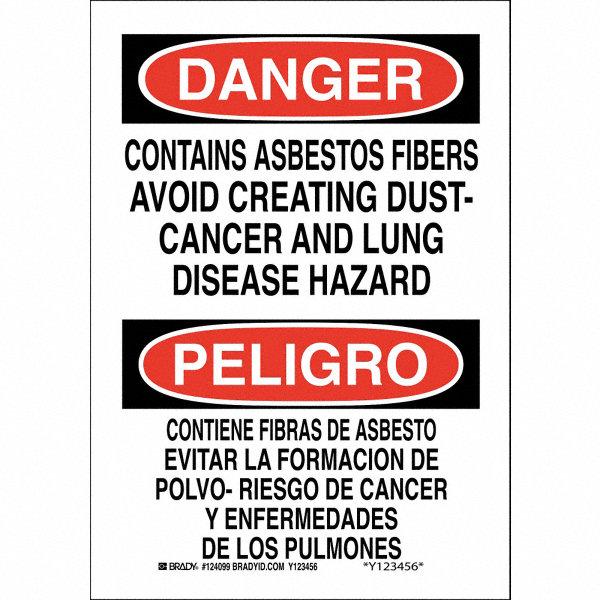 Fiberglass Safety Hazards : Brady health hazard danger peligro fiberglass quot