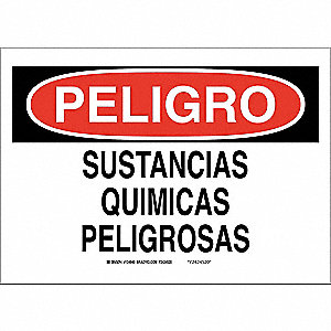 "Chemical, Gas or Hazardous Materials, Peligro, Fiberglass, 7"" x 10"", With Mounting Holes"