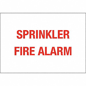 Fire Alarm Sign,10 x 14In,Red/White