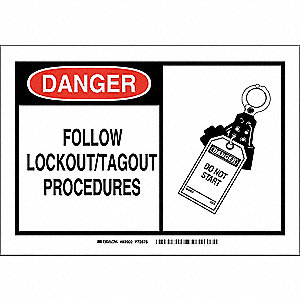 "Lockout Tagout, Danger, Fiberglass, 7"" x 10"", With Mounting Holes, Not Retroreflective"