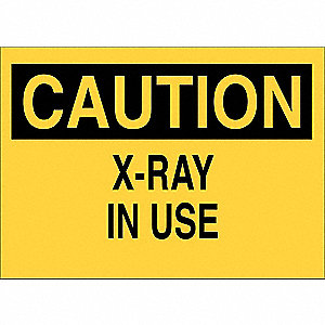 "Radiation and X-Ray, Caution, Fiberglass, 10"" x 14"", With Mounting Holes, Not Retroreflective"