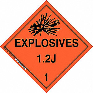 "10-3/4"" x 10-3/4"" Class 1.2J B-120 Premium Fiberglass Vehicle Placard, Black/Orange"