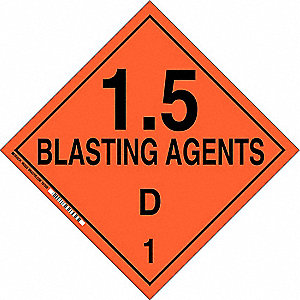 "10-3/4"" x 10-3/4"" Class 1.5D B-946 Pressure Sensitive Vinyl Vehicle Placard, Black/White"