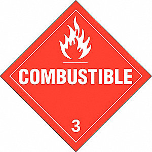 Vehicle Placard,Combustible 3,White/Red