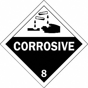Vehicle Placard,Corrosive with Picto