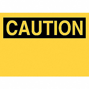 Caution Sign,14 x 20In,Black/Yellow