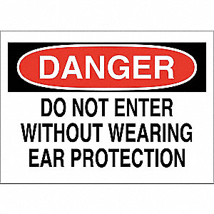 "Personal Protection, Danger, Fiberglass, 10"" x 14"", With Mounting Holes, Not Retroreflective"