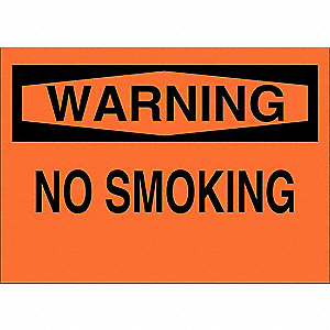 No Smoking Sign,10 x 14In,Black/Orange