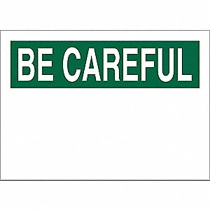 Safety Sign,10 x 14In,Green on White