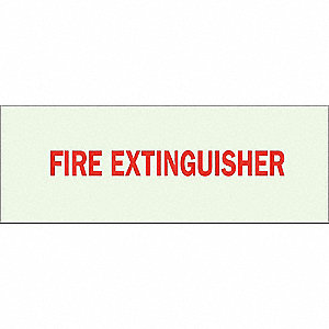 Fire Ext Sign,3-1/2 x 10In,Red/Green