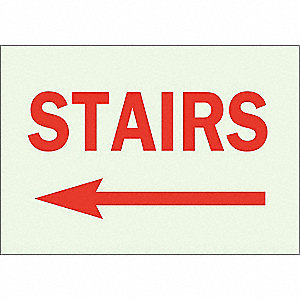 Directional Sign,7 x 10In,Red/Green
