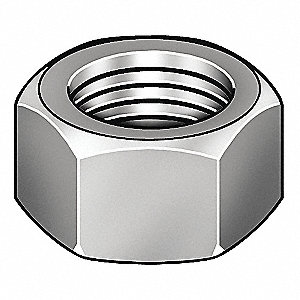 "3/8""-16 Hex Nut - Heavy, Plain Finish, 18-8 SS, Right Hand, ASME B18.2.2, PK50"