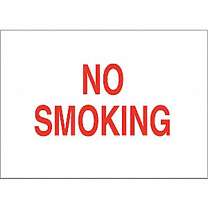No Smoking Sign,5 x 14 in.,Red/White