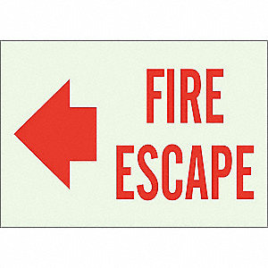 Fire Exit Sign,10 x 14In,Red/Green