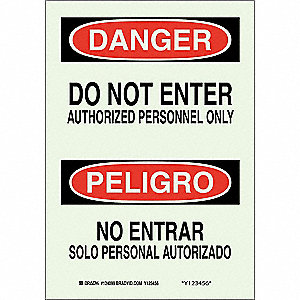 "Authorized Personnel and Restricted Access, Danger/Peligro, Plastic, 14"" x 10"", With Mounting Holes"
