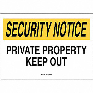 "Trespassing and Property, Security Notice, Plastic, 14"" x 20"", With Mounting Holes"