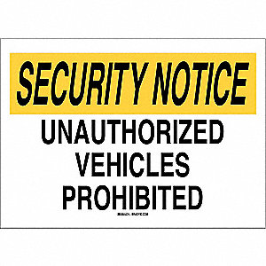 "Security Sign,14""H,20""W,Plastic"