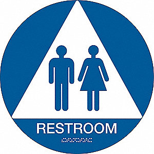 Restroom Sign,12 x 12In,White/Blue