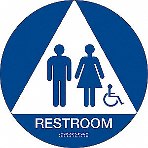 "Restrooms, No Header, Plastic, 12"" x 12"", Surface"