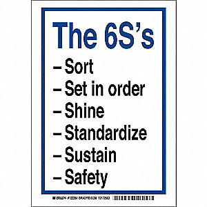 "Safety Incentive and Motivational, The 6S'S, Polyester, 14"" x 10"", Adhesive Surface"