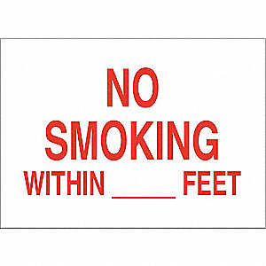 No Smoking Sign,10 x 14In,Blk/Red/Wht
