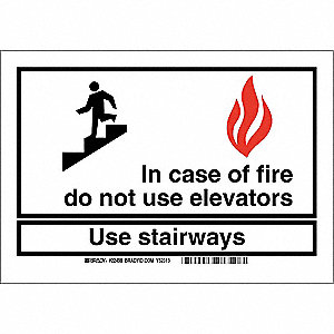 Fire Exit Sign,10 x 14In,Red/Blk and Wht