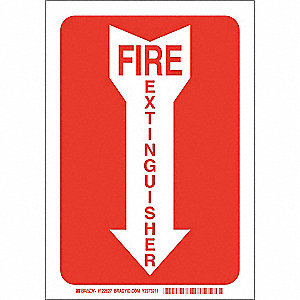 Fire Extinguisher Sign,10 x 7In,Wht/Red
