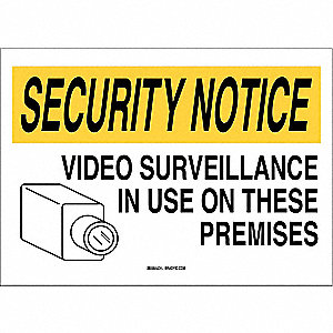 "Security and Surveillance, Security Notice, Plastic, 7"" x 10"", With Mounting Holes"