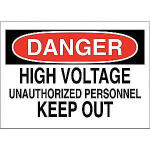 "Electrical Hazard, Danger, Fiberglass, 7"" x 10"", With Mounting Holes, Not Retroreflective"