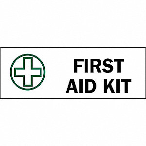 "First Aid, No Header, Fiberglass, 10"" x 14"", With Mounting Holes, Not Retroreflective"