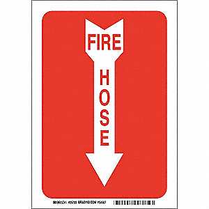"Fire Equipment, No Header, Fiberglass, 10"" x 7"", With Mounting Holes, Not Retroreflective"