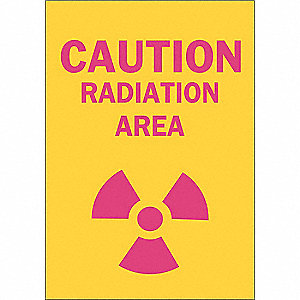 Caution Radiation Sign,10 x 7In,Pnk/Yel