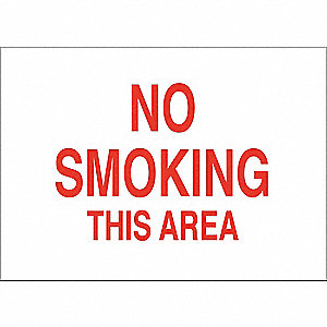 No Smoking Sign,7 x 10In,Red/White