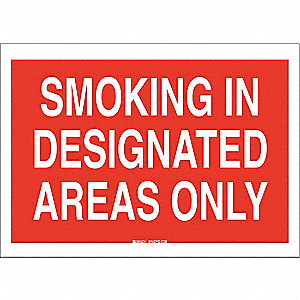 Smoking Area Sign,7 x 10In,White/Red