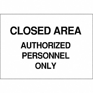 Admittance Sign,7 x 10In,Black/White