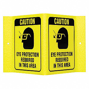 "Personal Protection, Caution, Acrylic, 6"" x 9"", With Mounting Holes, Not Retroreflective"