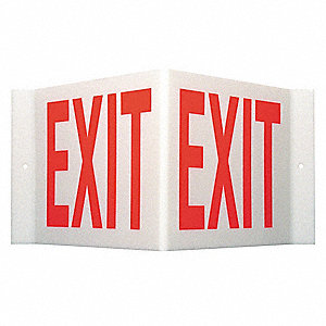 Exit Sign,8 x 15In,Red/White