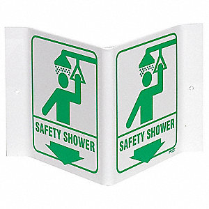 "Eyewash and Shower, No Header, Plastic, 12"" x 18"", With Mounting Holes, Not Retroreflective"